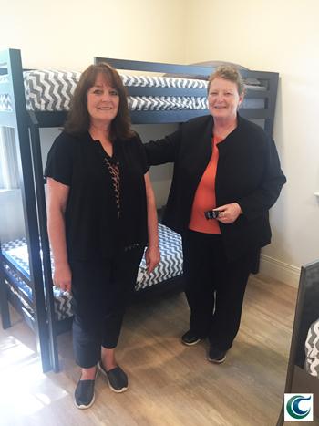 Rebecca Brubaker and Joyce Grover at Safehouse Crisis Center Family Bedroom