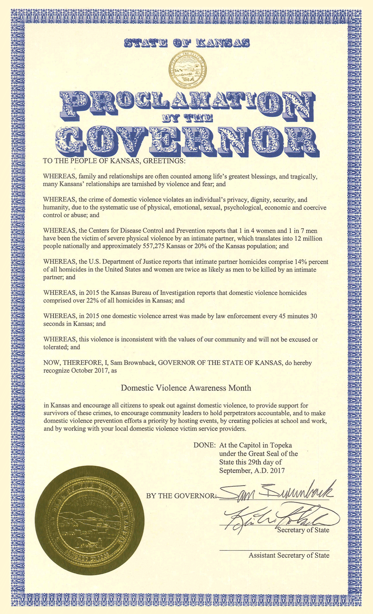 Governors Proclamation for DVAM2017