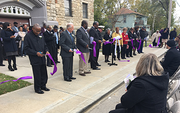 Friends of Yates Ribbon - ribbon cut