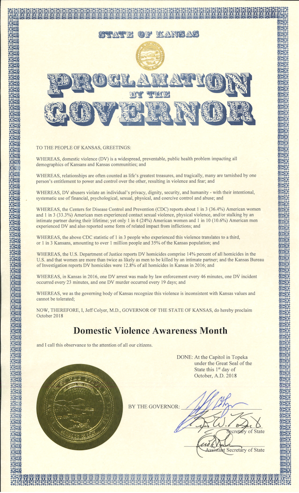 Proclamation of Governor of Kansas - DVAM