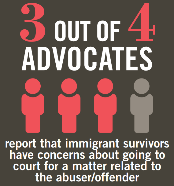 3 out of 4 advocates report that immigrant survivors have concerns about going to court for a matter related to the abuser/offender