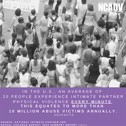 The image shows a crowd of people walking on the street and text that is a domestic violence fact. The image is by NCADV.