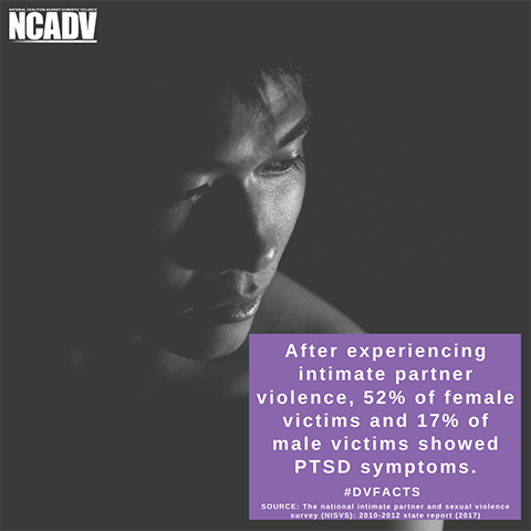 The image shows a person's face and text that is a domestic violence fact. The image is by NCADV.