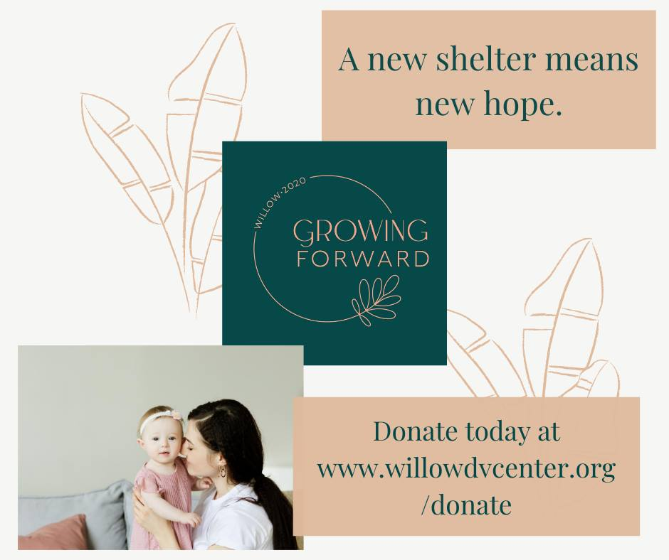 "The image shows a person with their baby, the Growing Forward capital campaign logo, and text that reads, ""A new shelter means new hope."" The image also has the URL where people can go online to donate to The Willow. The image is by The Willow."