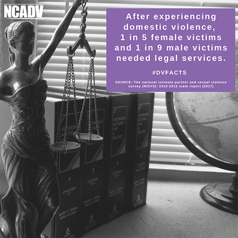 The image shows a figurine holding up the Scales of Justice. The image also shows text that is a domestic violence fact. The image is by NCADV.